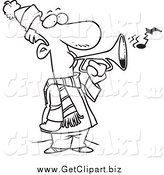 Clip Art of a Black and White Winter Man Playing a Horn by Toonaday
