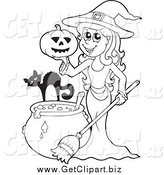 Clip Art of a Black and White Witch with a Cat Pumpkin and Cauldron by Visekart
