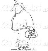 April 9th, 2014: Clip Art of a Black and White Worker Man with Tools by Djart