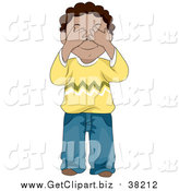 Clip Art of a Black Boy Covering His Eyes by BNP Design Studio