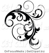 Clip Art of a Black Cluster Design Accent of Curling Vines on White by OnFocusMedia