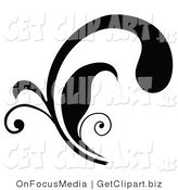 Clip Art of a Black Curly Silhouetted Elegant Leafy Scrolling Design by OnFocusMedia