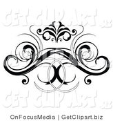 Clip Art of a Black Decorative Swirling Design Element or Back Tattoo by OnFocusMedia