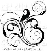 Clip Art of a Black Floral Scrolling Design Element by OnFocusMedia
