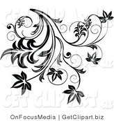 Clip Art of a Black Flourish with Leaves and Curly Tendrils Growing down by OnFocusMedia