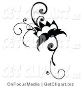 Clip Art of a Black Flowering Vine Design Scrolling on White by OnFocusMedia