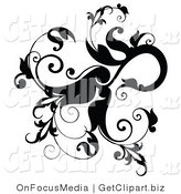 Clip Art of a Black Leafy Flourish with Leaves and Vines Curling on White by OnFocusMedia