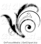 Clip Art of a Black Leafy Scroll Design with a White Outline by OnFocusMedia