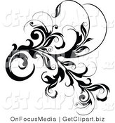 Clip Art of a Black Lush Leafy Vine Element with Thick Leaves on White by OnFocusMedia
