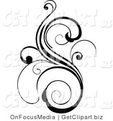 Clip Art of a Black Ornate Scroll by OnFocusMedia