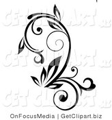 Clip Art of a Black Outline Plant with Curling Stalks on White by OnFocusMedia