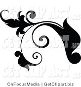 Clip Art of a Black Plant Design Element Scroll with Tendrils Growing Left by OnFocusMedia