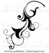 Clip Art of a Black Scrolling Flourish Design Element by OnFocusMedia
