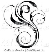 Clip Art of a Black Silhouette Scrolling Flourish Design Element by OnFocusMedia