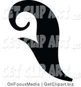 Clip Art of a Black Silhouetted Elegant Curling Leaf Design Growing up by OnFocusMedia