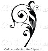 Clip Art of a Black Silhouetted Elegant Curly Leafy Scroll Design Flowing up by OnFocusMedia
