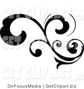 Clip Art of a Black Silhouetted Elegant Curly Leafy Scroll Design Growing Left by OnFocusMedia
