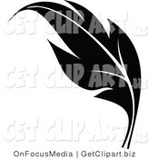 Clip Art of a Black Silhouetted Elegant Feather Design Element by OnFocusMedia