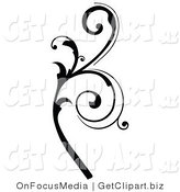 Clip Art of a Black Silhouetted Elegant Leafy Branch Design Flowing up by OnFocusMedia