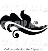 Clip Art of a Black Silhouetted Elegant Leafy Design Going Left by OnFocusMedia