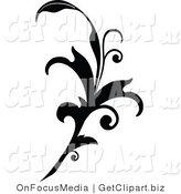 Clip Art of a Black Silhouetted Elegant Leafy Scroll Design Flowing up by OnFocusMedia