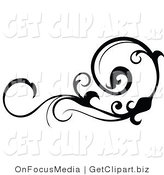 Clip Art of a Black Silhouetted Horizontal Scrolling Design Element by OnFocusMedia