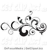 Clip Art of a Black Silhouetted Leafy Scroll Design Element with Tendrils Flowing Horizontal by OnFocusMedia
