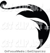 Clip Art of a Black Silhouetted Leafy Scroll Design with a Curly Tip, Flowing Right by OnFocusMedia