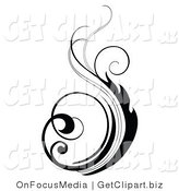 Clip Art of a Black Silhouetted Vertical Scrolling Design Element on White by OnFocusMedia