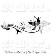 Clip Art of a Black Solid Lined and Dotted Flowering Plant with Swirling Tendrils by OnFocusMedia