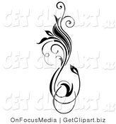 Clip Art of a Black Vertical Flourish with a Blooming Flower Growing up and down by OnFocusMedia