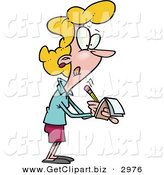 Clip Art of a Blond Caucasian Woman Writing Notes by Toonaday