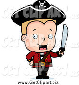 Clip Art of a Blond Pirate Boy with a Sword by Cory Thoman