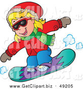 Clip Art of a Blond White Girl Snowboarding in an Red Jacket by Visekart