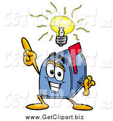 Clip Art of a Blue Mailbox Cartoon Character with a Bright Idea by Toons4Biz