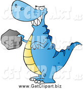 Clip Art of a Blue Tyrannosaurus Rex Dino Holding a Boulder by Hit Toon