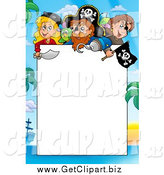 Clip Art of a Border of Pirates Around White Space by Visekart