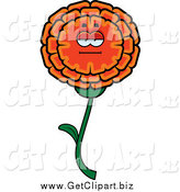 Clip Art of a Bored Orange Marigold Flower Character by Cory Thoman