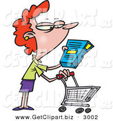Clip Art of a Bored White Woman in a Grocery Store Readint the Nutrition Label on a Box of Food by Toonaday