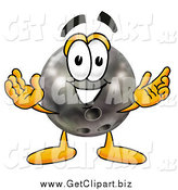 Clip Art of a Bowling Ball Cartoon Character with Welcoming Open Arms by Toons4Biz