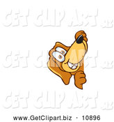 Clip Art of a Brown Dog Mascot Cartoon Character Peeping Around a Corner, on White by Toons4Biz