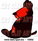 Clip Art of a Brown Dog Mascot Cartoon Character, Tired and Worn Out, Sleeping While Leaning Against a Wall by Toons4Biz