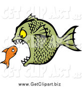 Clip Art of a Bully Fish Eating a Small Orange Fish by Any Vector