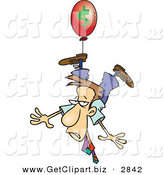 Clip Art of a Business Man Being Carried Away by a Red Inflation Balloon on White by Toonaday