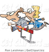 Clip Art of a Businessman and Woman Jumping a Hurdle Obstacle During a Race by Toonaday