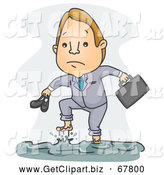 Clip Art of a Businessman Walking Through a Flood by BNP Design Studio