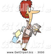 Clip Art of a Busy Caucasian Woman Carrying Company Files by Toonaday