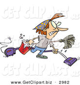Clip Art of a Busy Housewife Woman Wearing Herself out While Doing Spring Cleaning by Toonaday