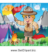 Clip Art of a Camping Scout Boy Waving Red Flags by a Fire by Visekart