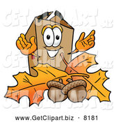 Clip Art of a Cardboard Box Cartoon Character with Autumn Leaves by Toons4Biz